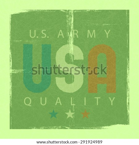 USA retro poster, USA army quality, shabby grunge background - stock vector
