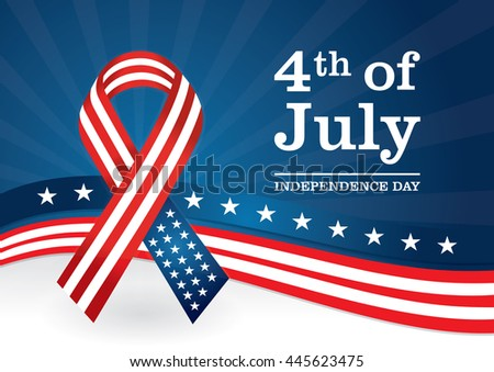 USA Ribbon Background at A4 size and CMYK colors. Independence day, 4th of July template.