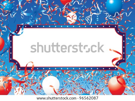 usa ribbons and balloons banner 1 - stock vector
