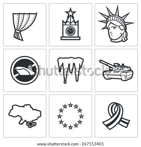 USA Russia conflict icons: Iron Curtain Kremlin Statue of Liberty mistral Cold War tank Crimea EU separatists. Vector Illustration - stock vector