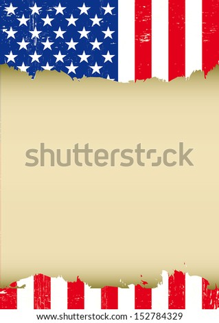 USA scratched vertical flag. A used patriotic US Flag for this poster - stock vector