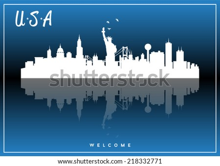 USA skyline silhouette vector design on parliament blue background. - stock vector