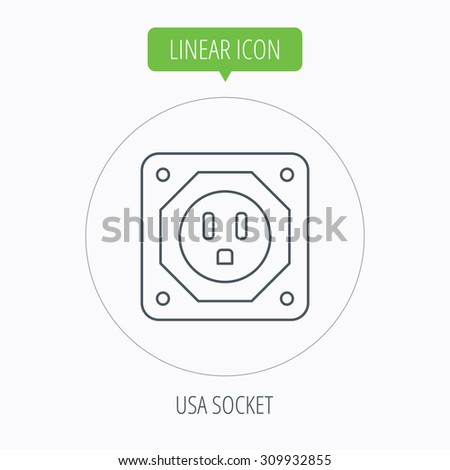 USA socket icon. Electricity power adapter sign. Linear outline circle button. Vector