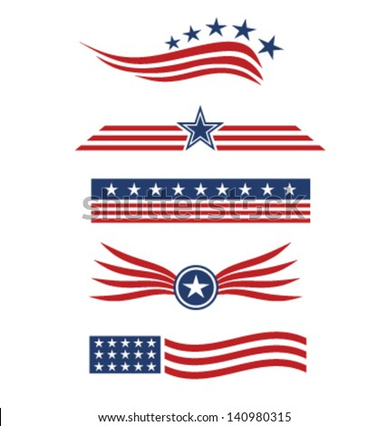 USA star flag design elements vector - stock vector