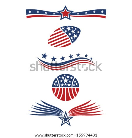 USA star flag icon design elements vector