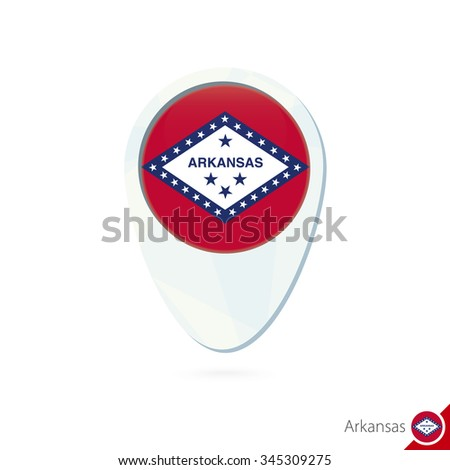 USA State Arkansas flag location map pin icon on white background. Vector Illustration. - stock vector