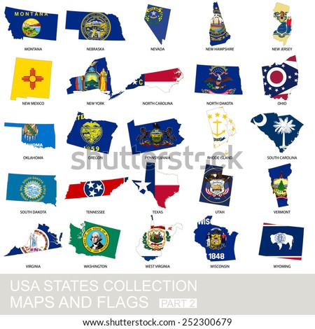 USA state collection, maps and flags, part 2 - stock vector