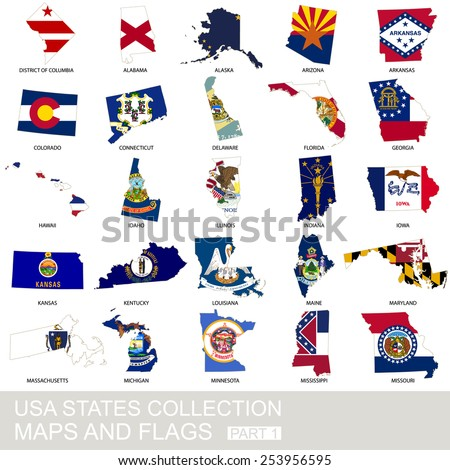 USA state collection, maps and flags, part 1 - stock vector
