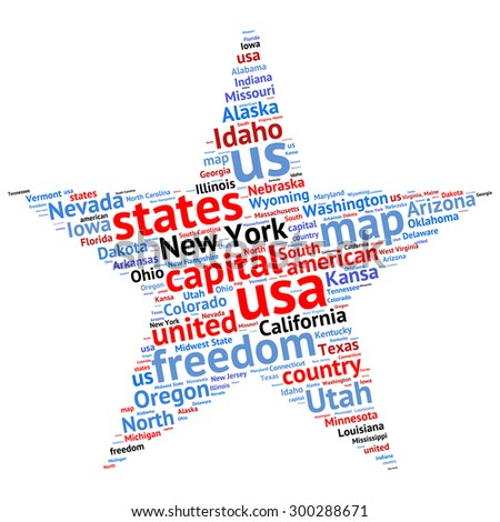 Usa State Map Tag Cloud Vector Stock Vector Shutterstock - Us cloud map