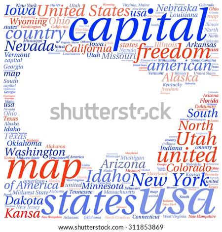USA state map tag cloud vector illustration - stock vector