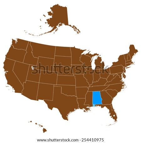 Alabama Map On Vintage American Flag Stock Vector - Alabama map usa