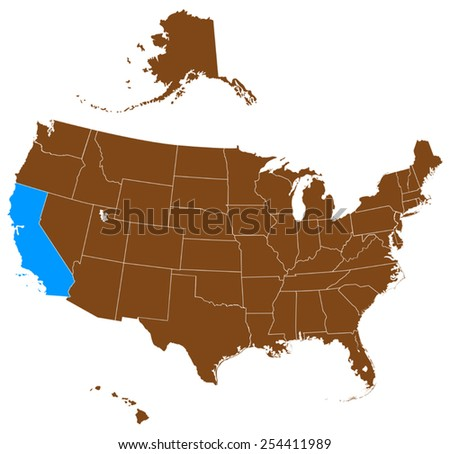 USA state Of California map - stock vector