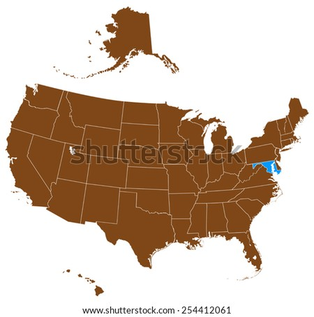 USA state Of Maryland map