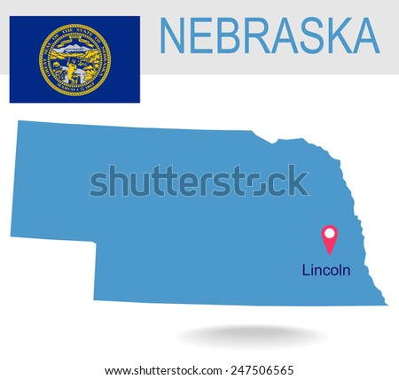 USA state Of Nebraska's map and Flag - stock vector