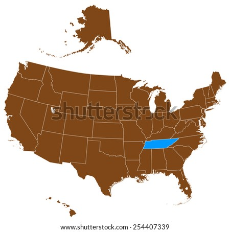 USA state Of Tennessee map