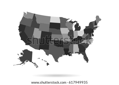 Poster Map United States America State Stock Illustration - Blank usa map