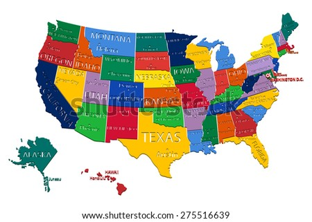 USA States Map withCapitals