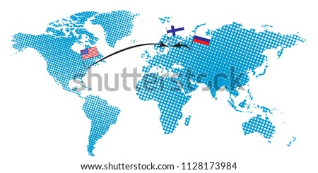 Usa summit russia finland illustration design stock vector royalty usa summit russia in finland illustration design of world map with russia finland and gumiabroncs Choice Image