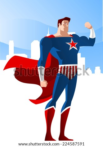 USA Superhero standing glorious with the city shine vector illustration, with red star and red and blue costume. - stock vector