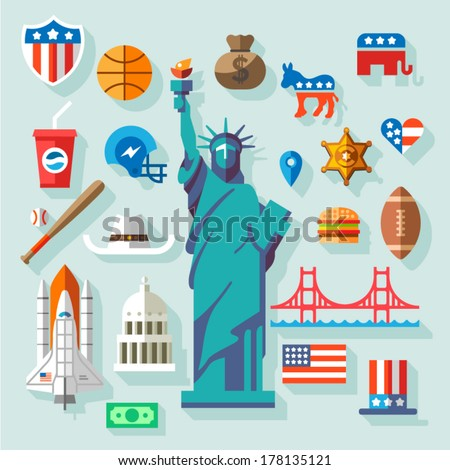 USA  Symbols -  many vector flat icons - stock vector