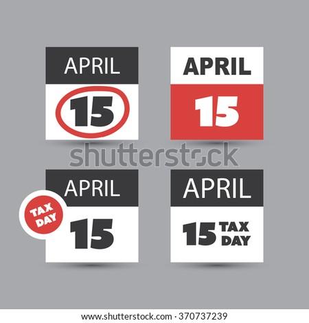 USA Tax Day Icon Set - Calendar Design Template - stock vector