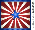 USA, 4th of July red and white star burst with shiny blue centre star. Use of gradients, global colors. - stock photo