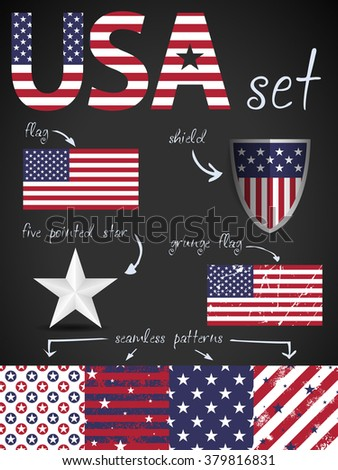 USA theme, flags, stars patterns - stock vector