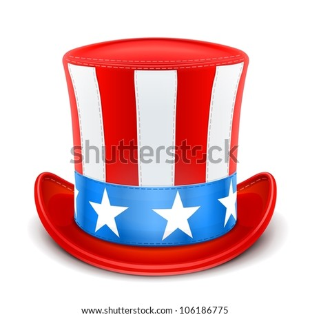 usa top hat for independence day vector illustration isolated on white background EPS10. Transparent objects and opacity masks used for shadows and lights drawing - stock vector