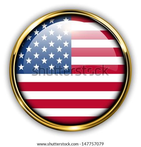 USA, United States America flag button, vector.  - stock vector