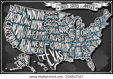 Line Art Usa Map : Usa united states america vintage chalk stock photo vector