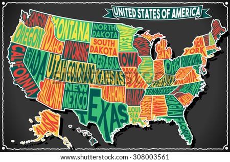 USA United States America Vintage Map on Old Vintage Colored Blackboard. Retro Postcard Vector Illustration - stock vector