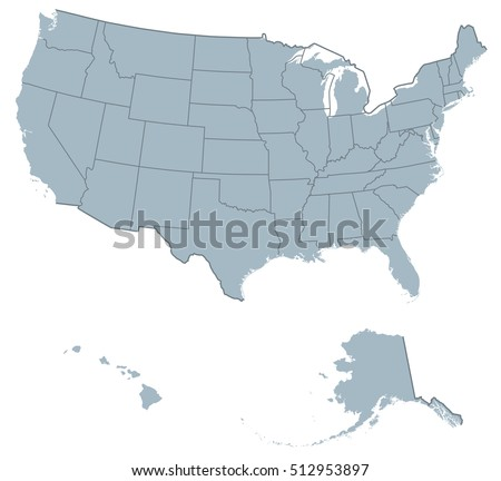 Usa United States America Political Map Stock Vector - Alaska us map