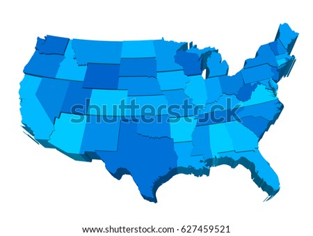 United States Map Detailed Vector Editable Stock Vector - Us map separated by region