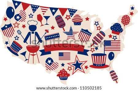 USA vector icons for american independence day , illustration - stock vector
