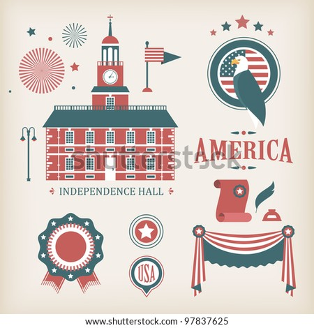 USA vector icons for independence day ( good for infographic and charts) - stock vector