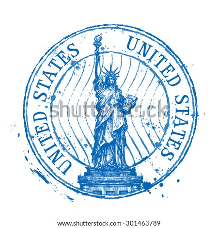 USA vector logo design template. Shabby stamp or United States, statue of liberty icons