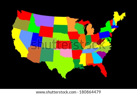 USA vector map with separated countries with different color isolated on black background. - stock vector