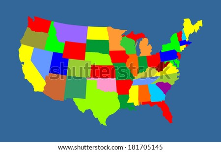 USA vector map with separated countries with different color, isolated on blue background. - stock vector