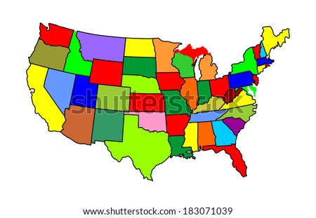 USA vector map with separated countries with different color, isolated on white background.  - stock vector