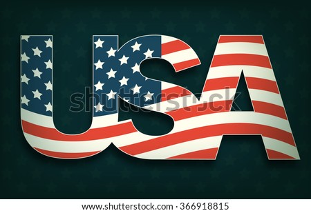 USA with Flag on Dark Background - stock vector