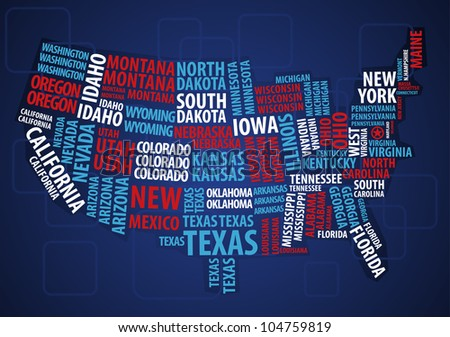 USA wordcloud map - stock vector