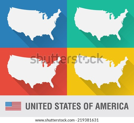 USA world map in flat style with 4 colors. Modern map design. - stock vector
