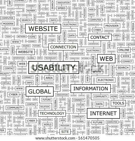 USABILITY. Seamless pattern. Word cloud illustration. Vector illustration. - stock vector