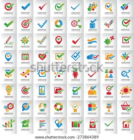 Usable Business logo Set,Many Check mark logo template design,clean vector - stock vector