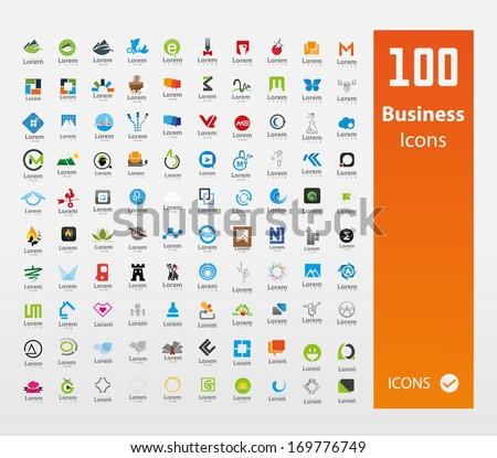 Usable  Business logo Set ( Set of 100 logo ) - stock vector