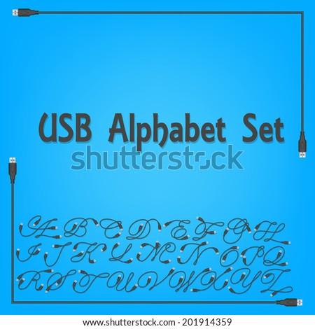 USB Alphabet Upper Case Design - stock vector