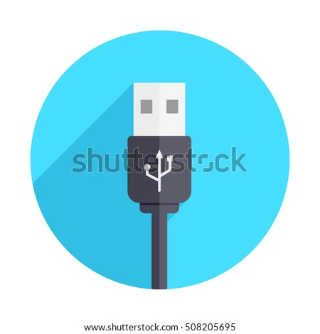 USB Black Connector Long Shadow Icon