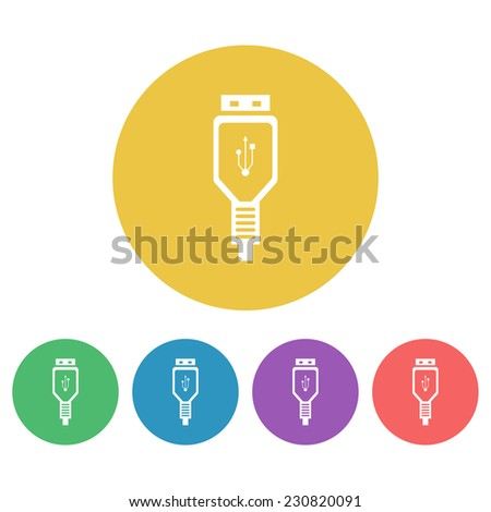 usb cable set vector colored round icons - stock vector