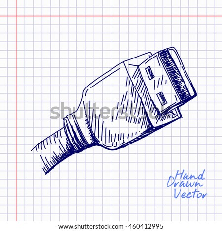 USB Cable sketch Illustration. Hand drawn Vector