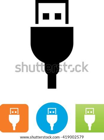 USB connector symbol.  - stock vector